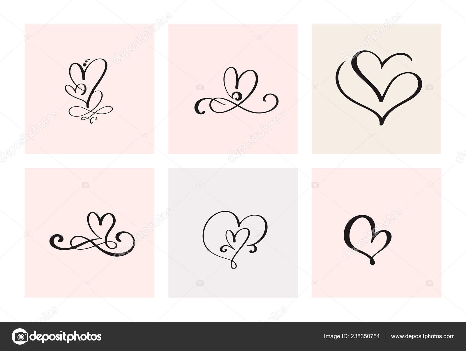 Sada Sesti Vintage Vektor Valentyn Rukou Kreslene Kaligraficke Srdce