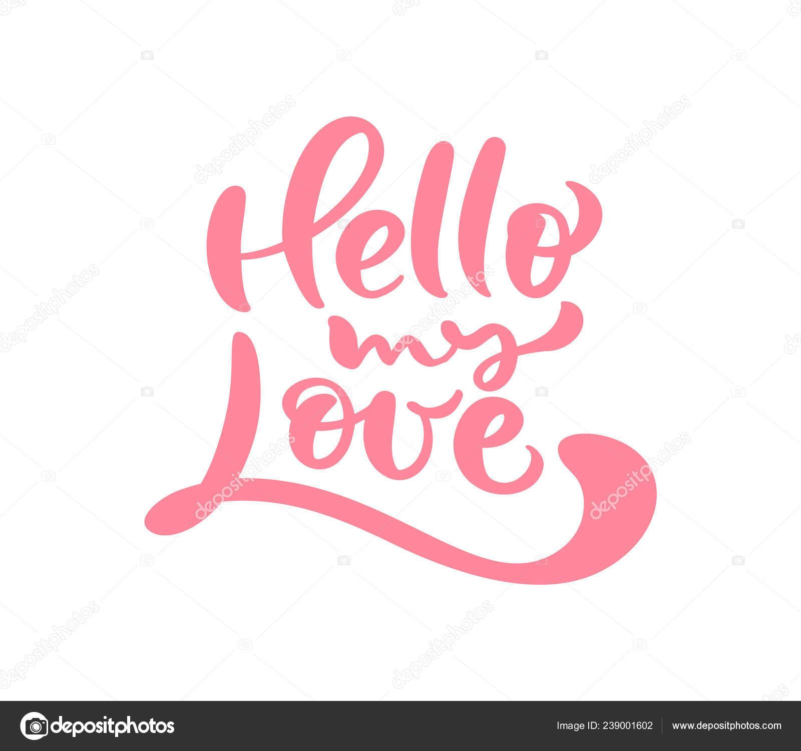 Mot Calligraphie Rouge Bonjour Mon Amour Lettrage Valentin