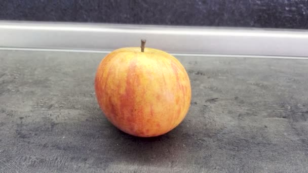 Beautiful fresh Apple is on the table. Concepn Close up 4K, copy space