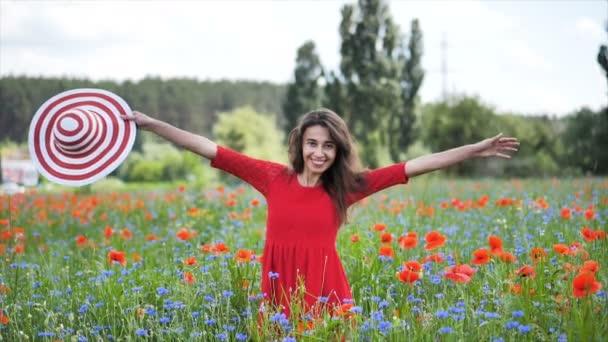 glückliche junge Frau in rotem Kleid und großem Hut, die die Natur genießt. Schönheit Mädchen im Freien geht auf einem Mohnfeld. Freiheitsbegriff. Schönheit Mädchen über Himmel und Sonne