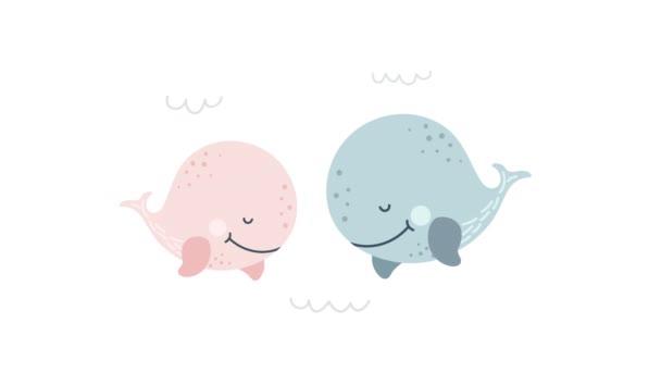 Zwei junge süße Wale. Animationsillustration mit Walen und Herzen über Liebe. Zwei verliebte Wale. Grußkarte, Videoplakat oder Hochzeitseinladung