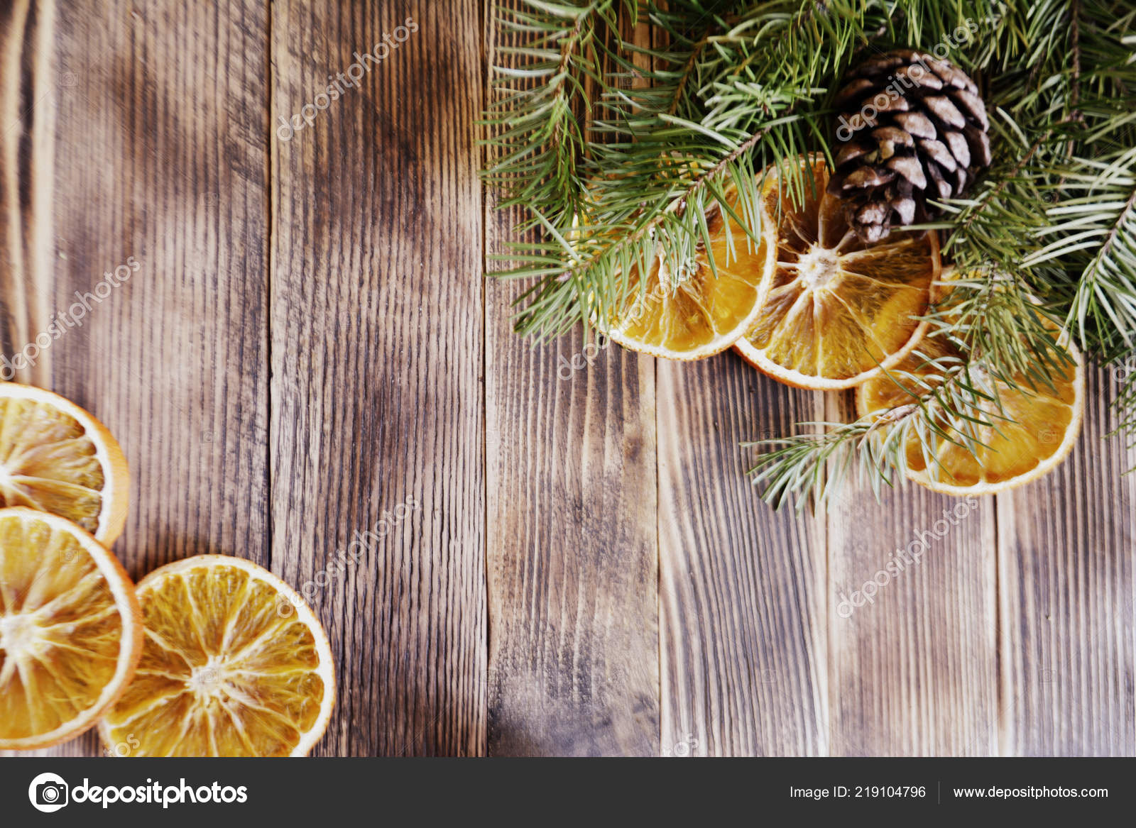 Fir Tree Branches Pine Cones Dried Oranges Christmas New Year
