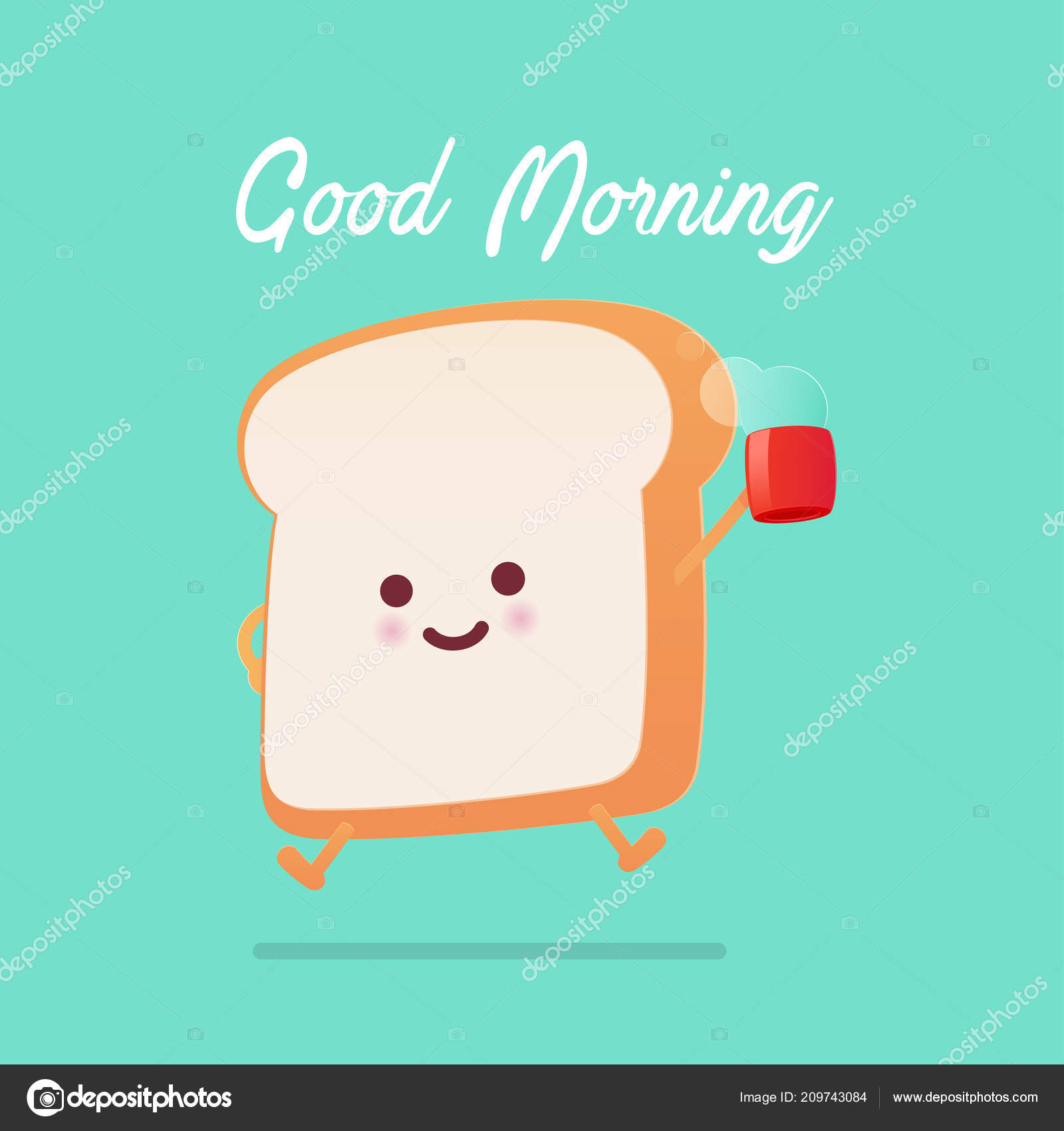Good Morning Greeting On Toasted Bread Cartoon Stock Vector