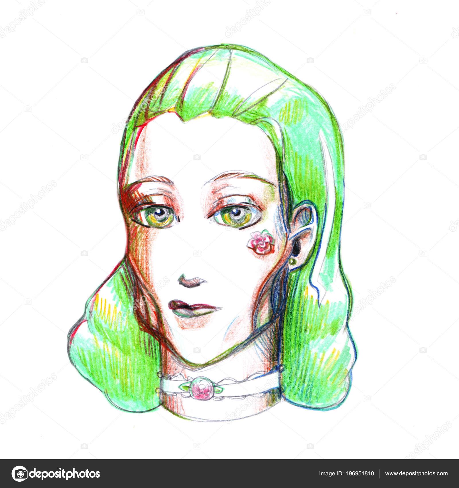 Fille Aux Cheveux Vert Illustration Photo Dessin Coloré