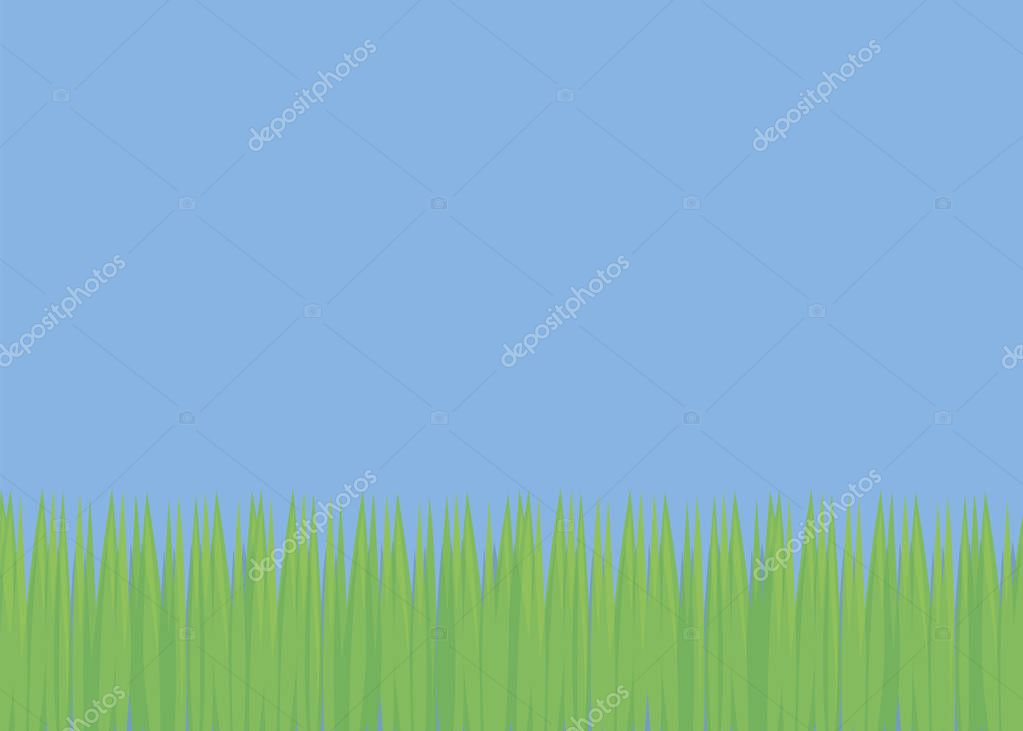 simple background with blue sky and green fresh grass field glade soccer lawn bright day vector illustration