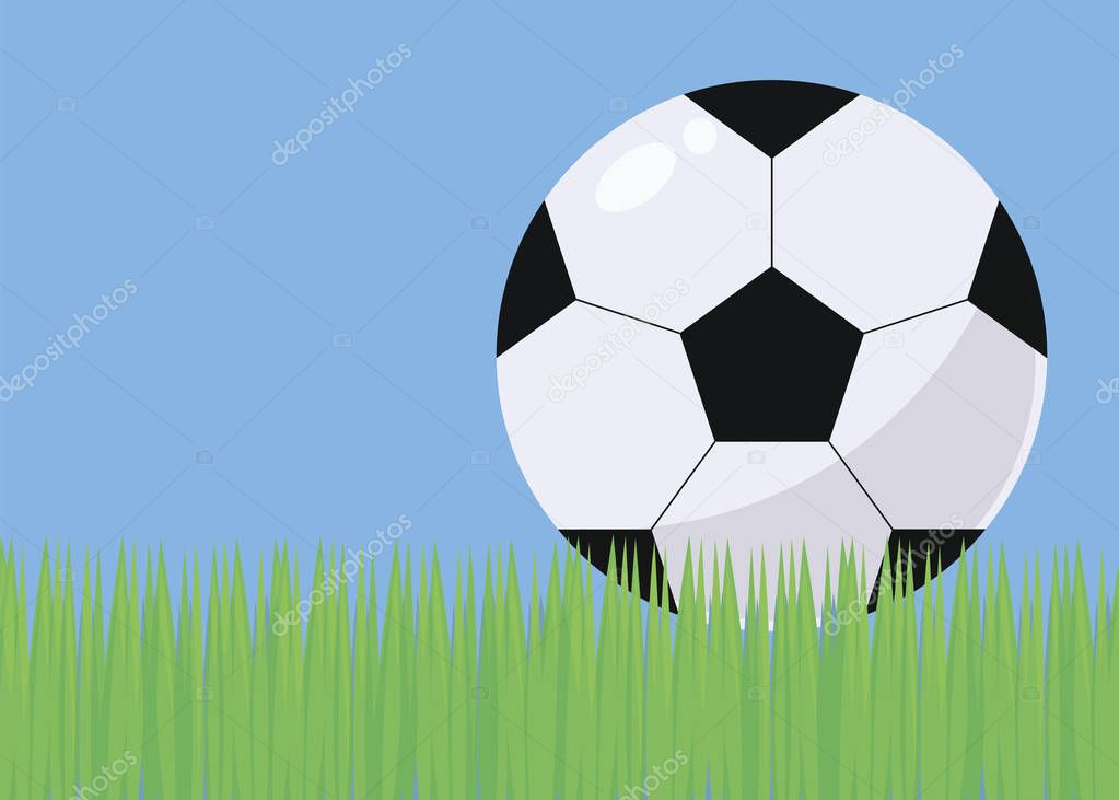 illustration with bright green grass football blue sky and black and white voluminous simple soccer ball with gloss and shadow vector background
