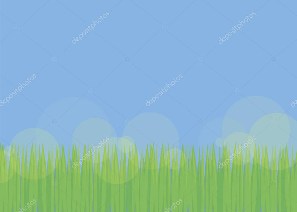 simple background with blue sky and green fresh grass with translucent yellow of the sun field glade soccer lawn bright bright day vector illustration