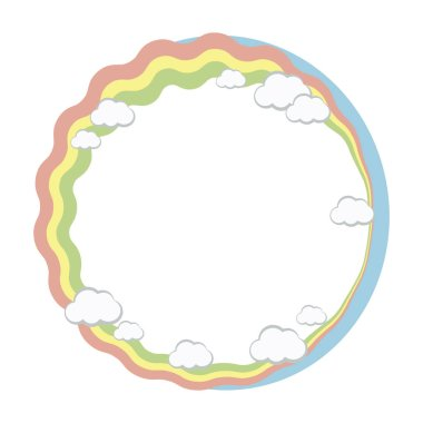 Round frame wreath of rainbow stripes and white clouds, blue sky vector object isolated on white background.
