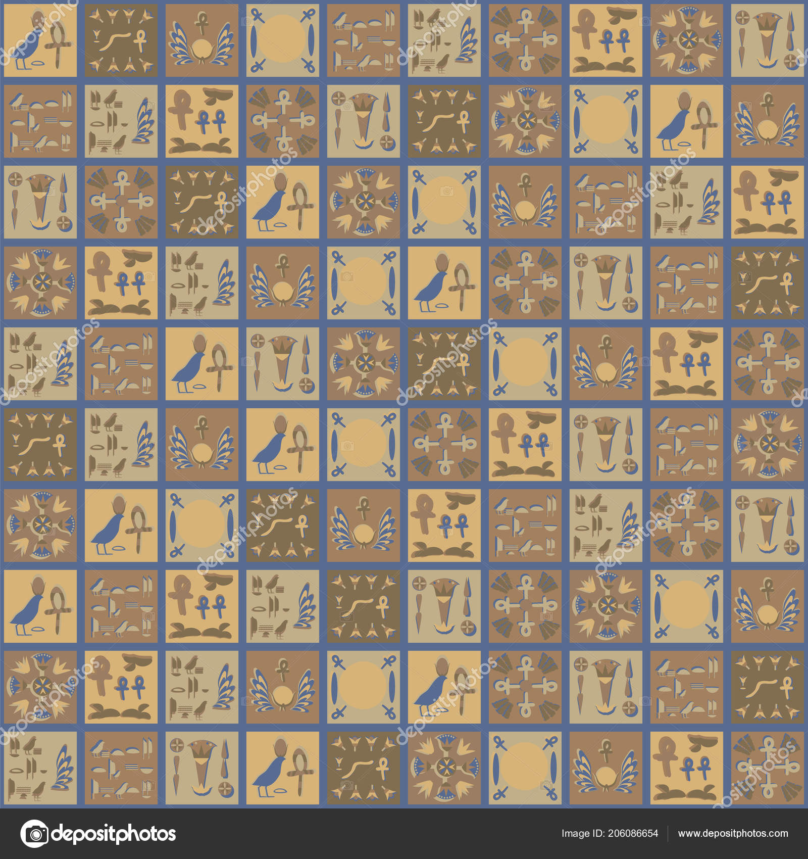 Square Vector Egyptian Ornaments Hieroglyphs Brown Yellow Gray
