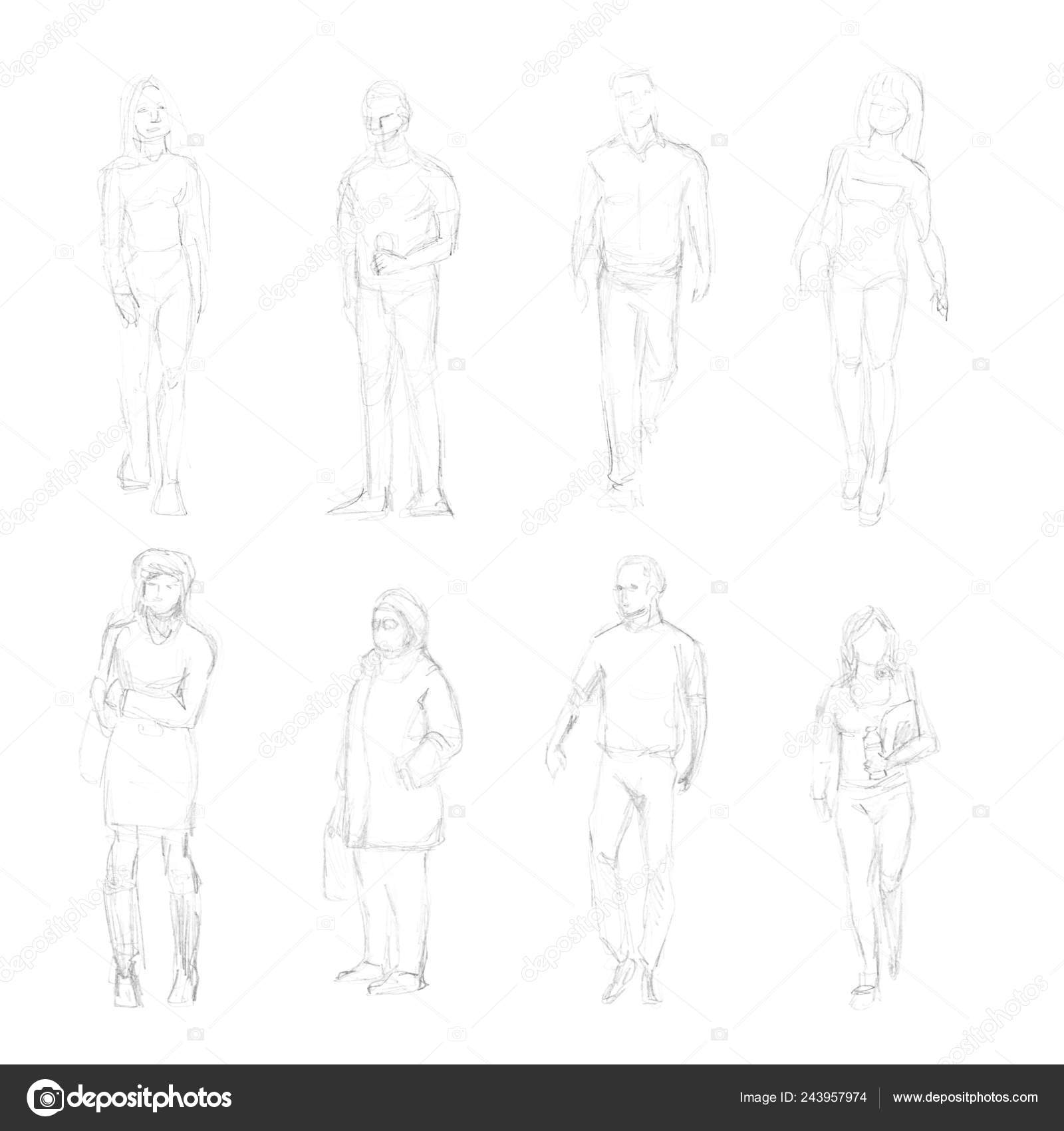 Black and white outlines of the outline with a simple pencil drawings of human figures for women and men without faces in various poses sketches set