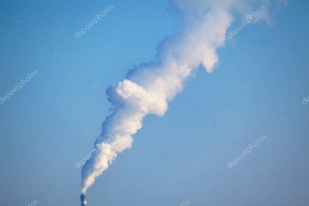 air pollution , smoking industrial pipe