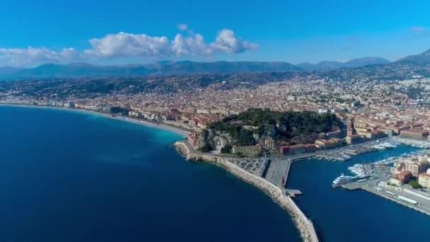 4 k letecké hyperlapse promenáda Nice Francie, Středozemní moře a výhledem na letiště. Francie město timelapse panorame