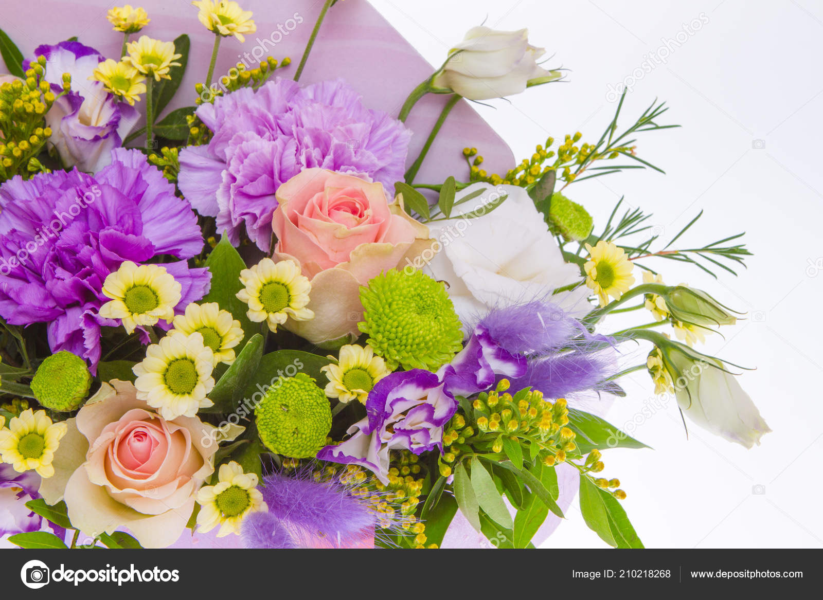 Bright Buketny Composition Fresh Flowers White Background Stock