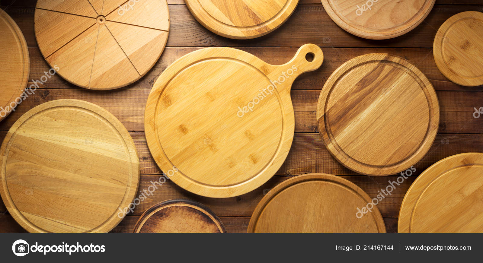 Pizza Bread Cutting Board Wooden Table Top View — Stock