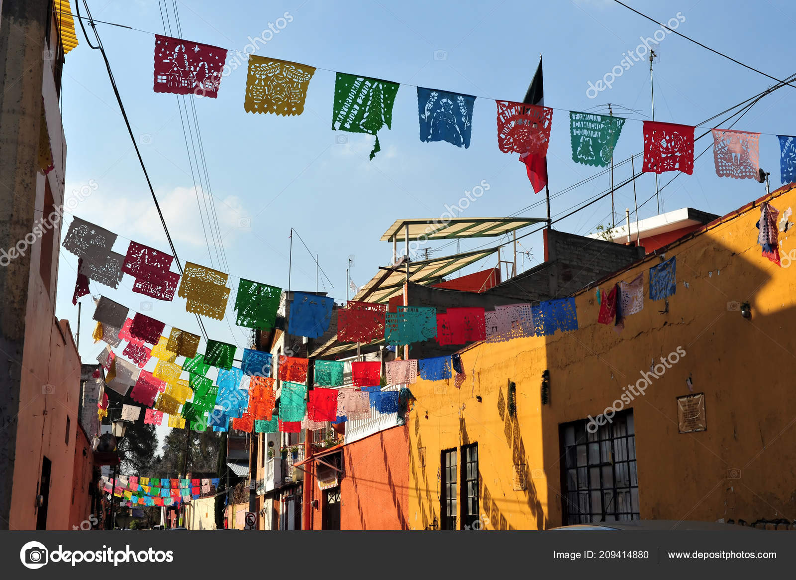 colourful flages street traditional mexican houses mexico city