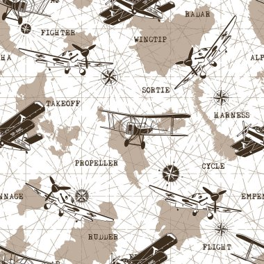Seamless Pattern old Planes vector graphic design