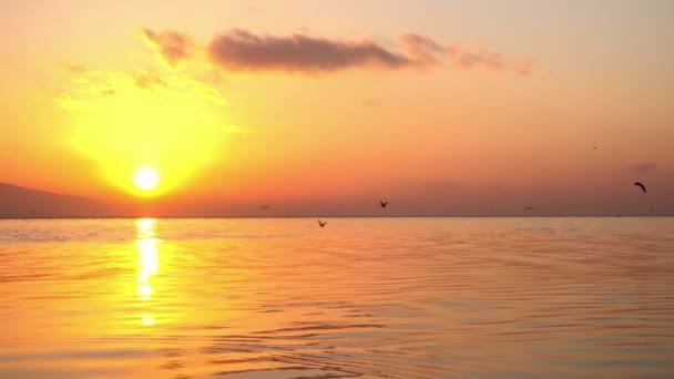 Golden Sunset a žluté sluneční paprsky v oceánu