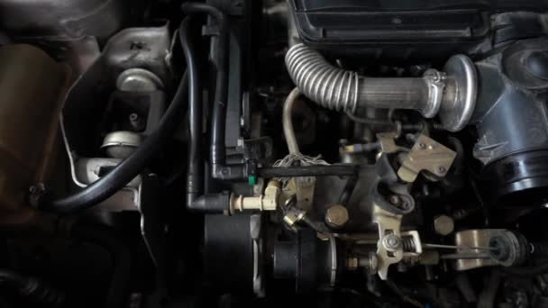Car parts, car engine parts and repair equipment in the workshop