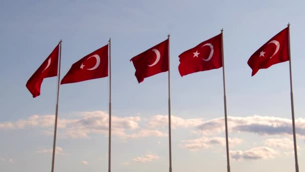 Turkish Flags Waving in The Wind On The Background Of The Sky. Turkeys National Symbol.