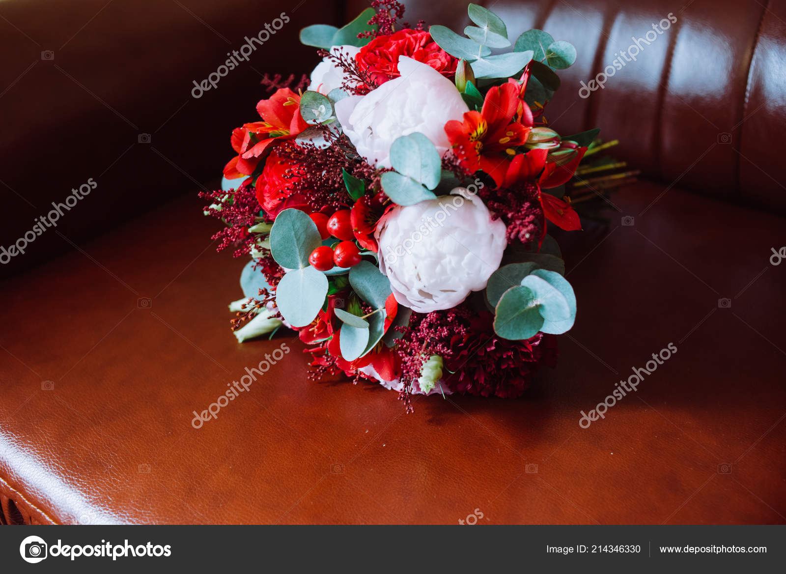 Wedding Bouquet Red White Flowers Standing Red Chair Stock Photo