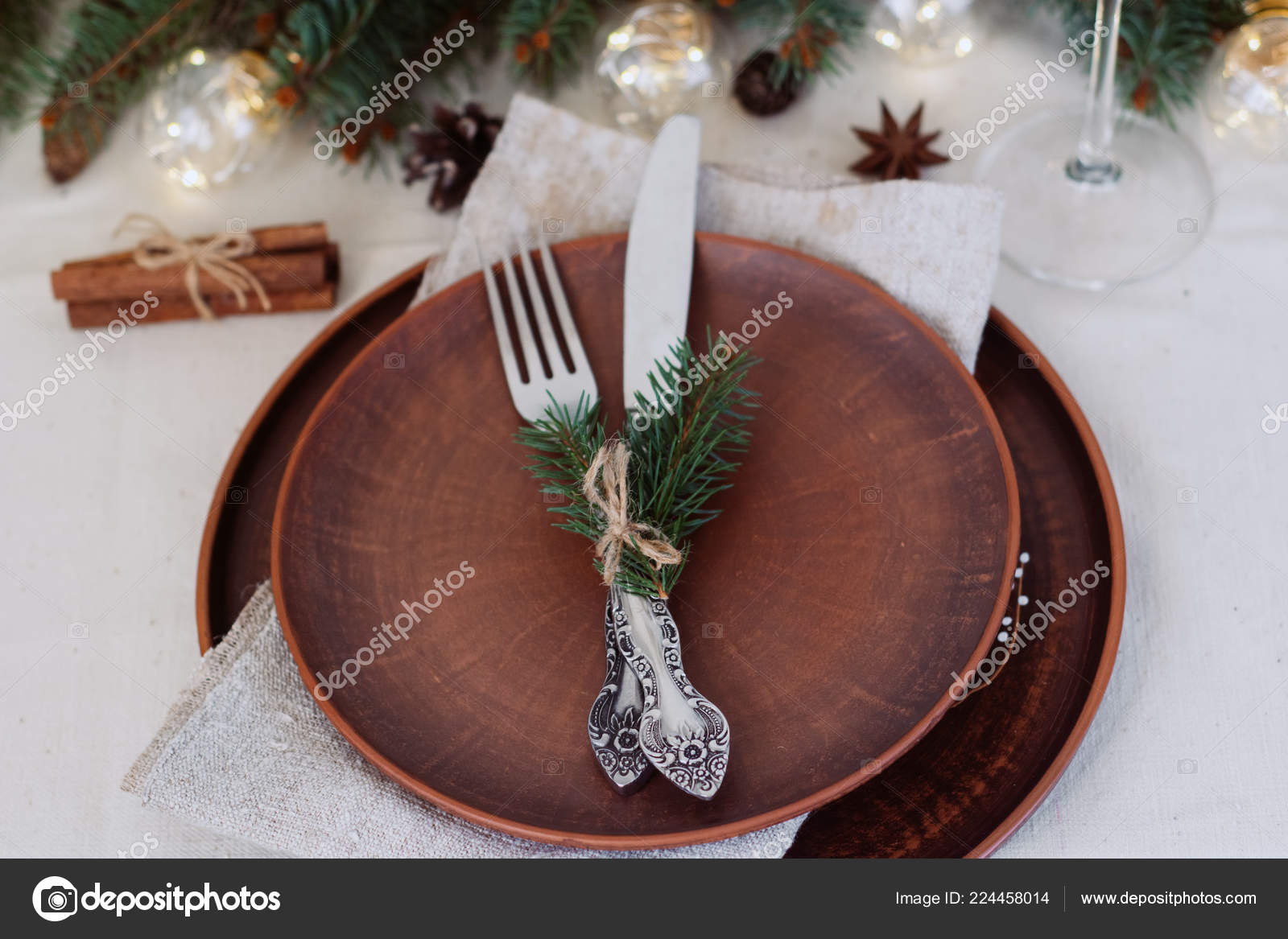 Table Christmas Decorations Garland Ware Green Spruce Branches