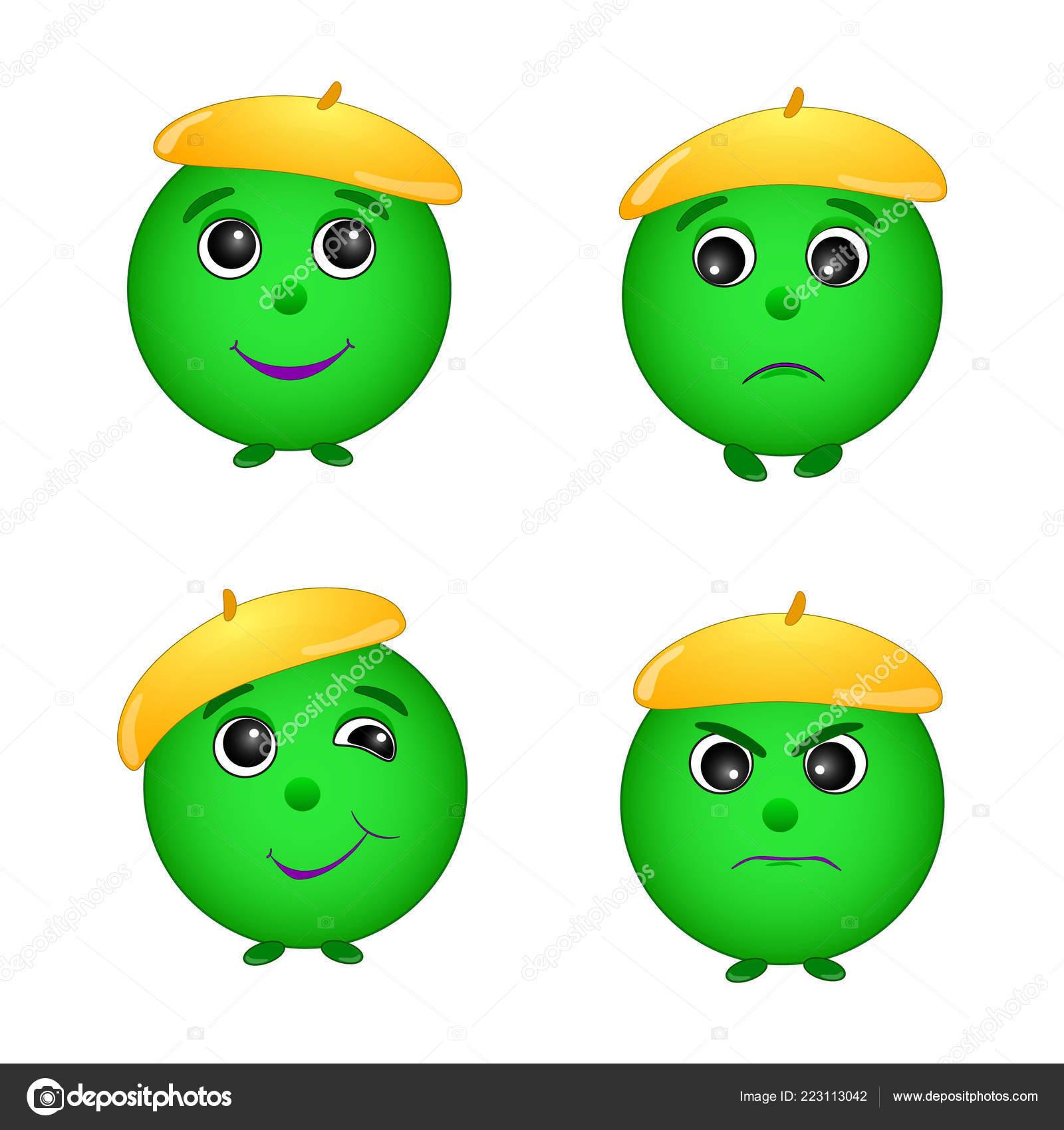 Set of different emotion green smiley illustration in vector
