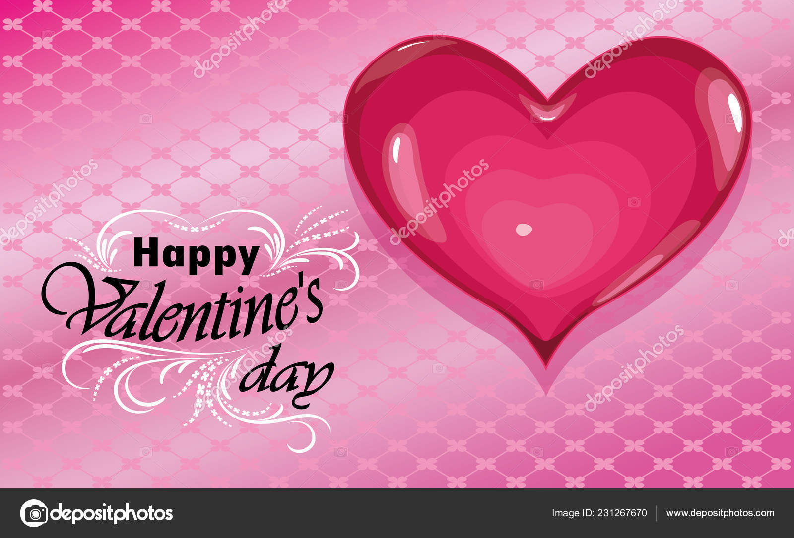 Happy Valentines Day Love Heart On Pink Background Vector