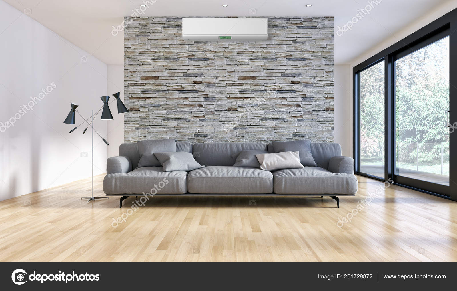 Modern interieur appartement met airconditioning rendering