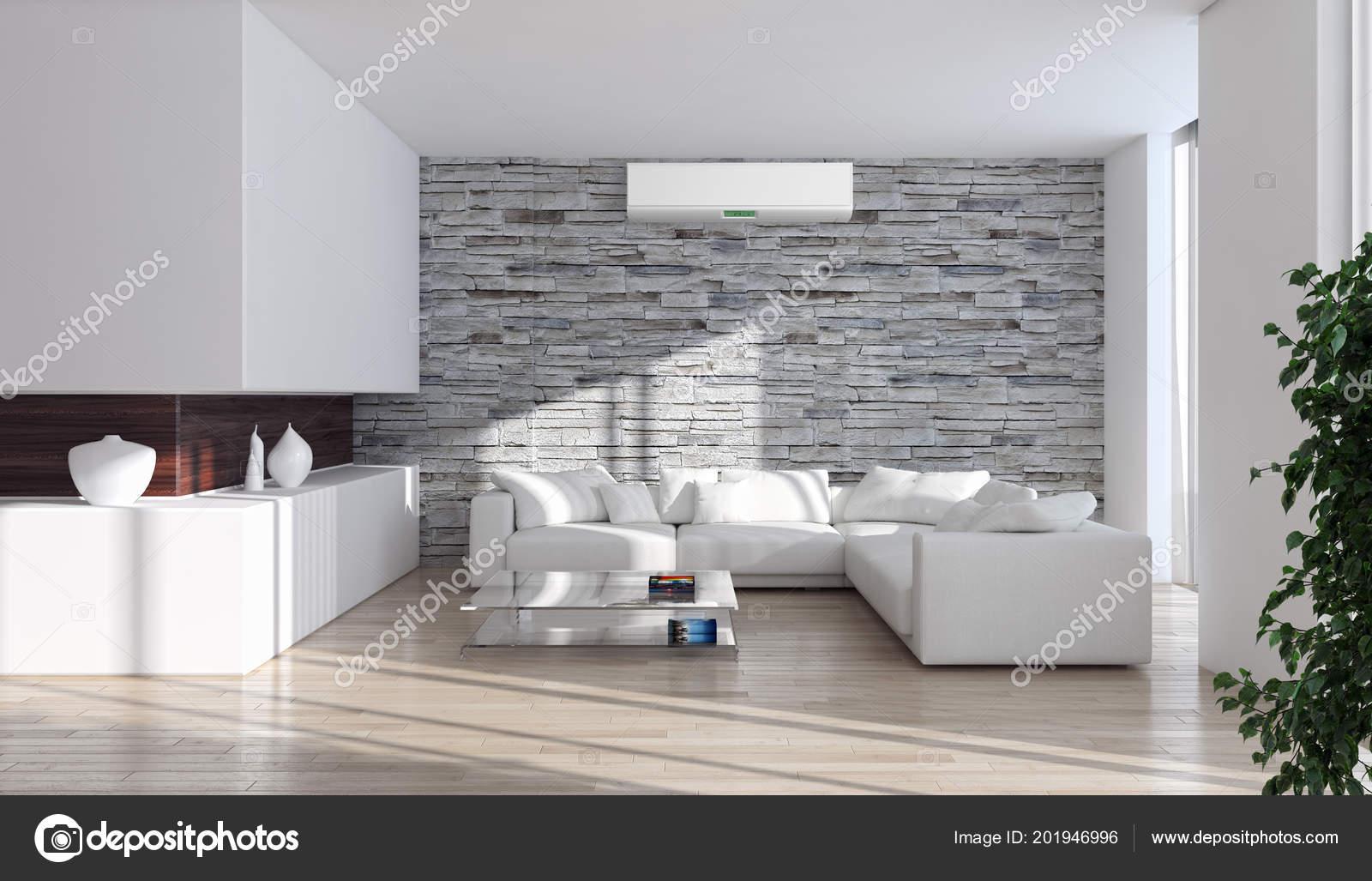 Modernes Interieur Mit Klimaanlage Rendering Illustration ...