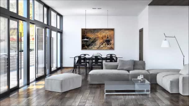 Appartamento moderno interni luminosi illustrazione vivente camera 3d rendering