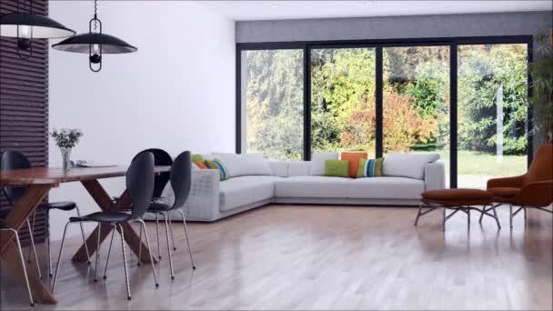 moderní světlé interiéry bytu obývací pokoj 3d vykreslování obrázku