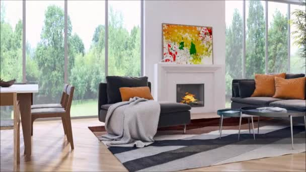 moderne helle Innenräume Wohnung Wohnzimmer 3D-Rendering-Illustration