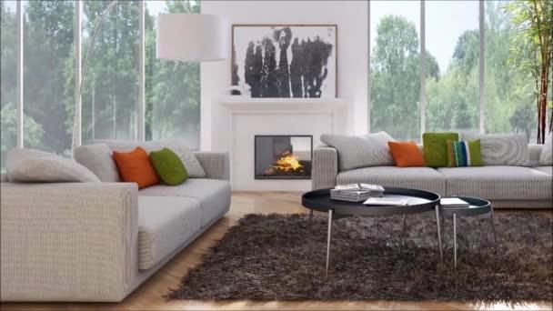 modern, világos belső terek apartman nappali szoba 3d rendering illusztráció