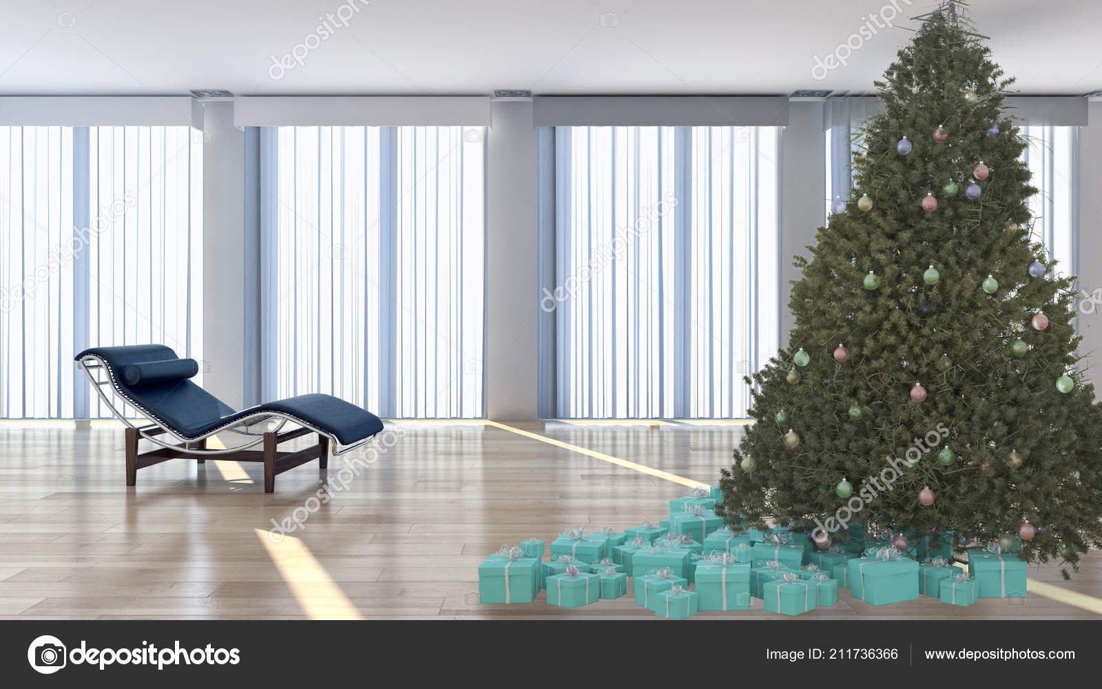 Boom In Woonkamer : Moderne lichte interieur appartement woonkamer met kerst boom