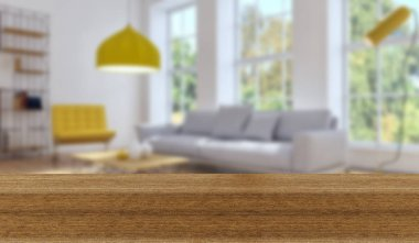 Wooden board empty Table Top And Blur Interior over blur Background, Mock up for display of product stock vector