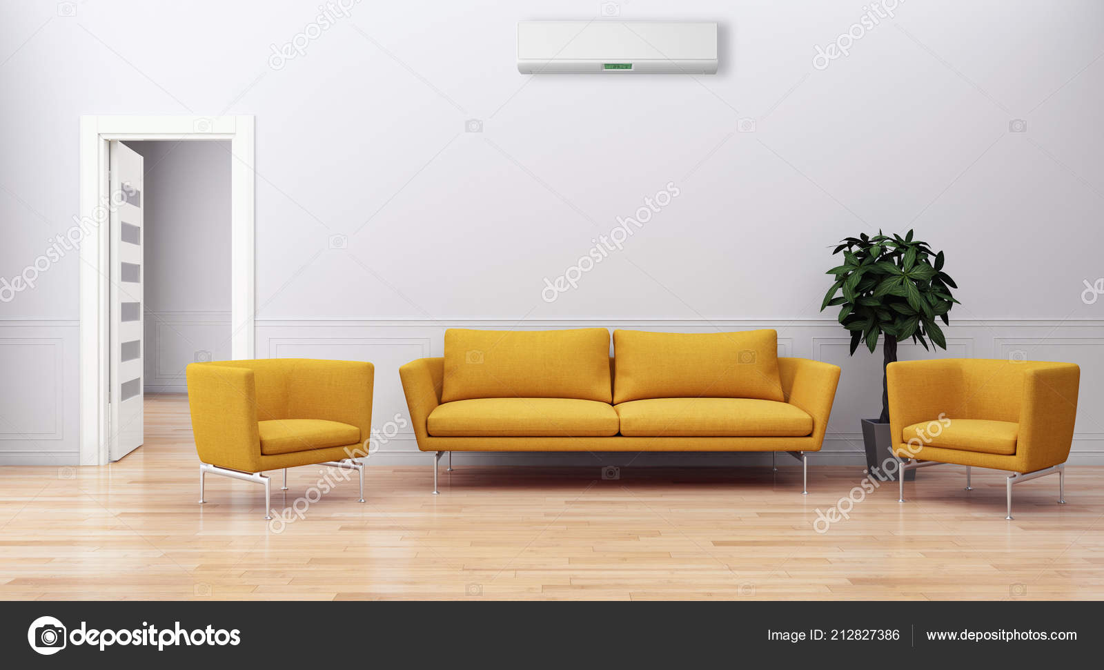 Modern bright living room Small Modern Bright Interiors Apartment Living Room Air Conditioning Illustration Rendering Stock Photo Depositphotos Modern Bright Interiors Apartment Living Room Air Conditioning