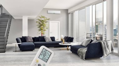 large luxury modern bright interiors empty room with air conditioning illustration 3D rendering computer generated image not photos and not private property