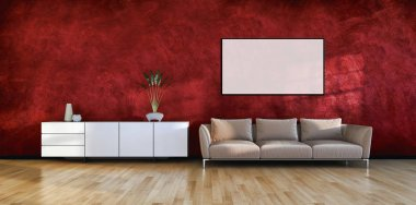 large luxury modern bright interiors with mock up poster frame illustration 3D rendering computer generated image not photos and not private property