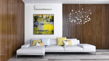large luxury modern bright interiors with air conditioning illus