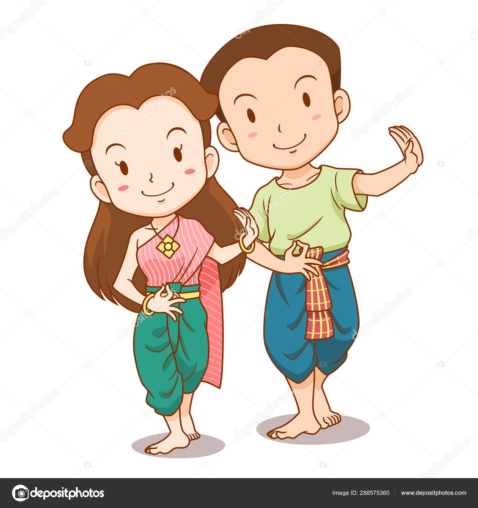 Cute Couple Cartoon Traditional Thai Dancers Stock Vector