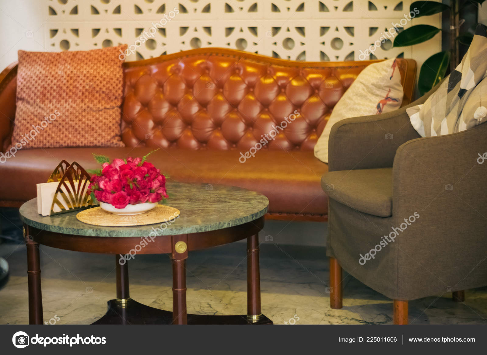 Sofa Chair Vintage Retro Cafe Restaurant Stock Photo C Fonnapath
