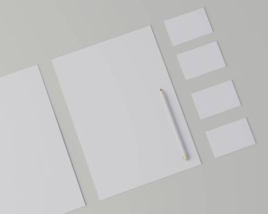 Corporate stationery set mockup. Blank white brand ID elements, paper sheets, card, pencil. Angled top view. 3D rendering.