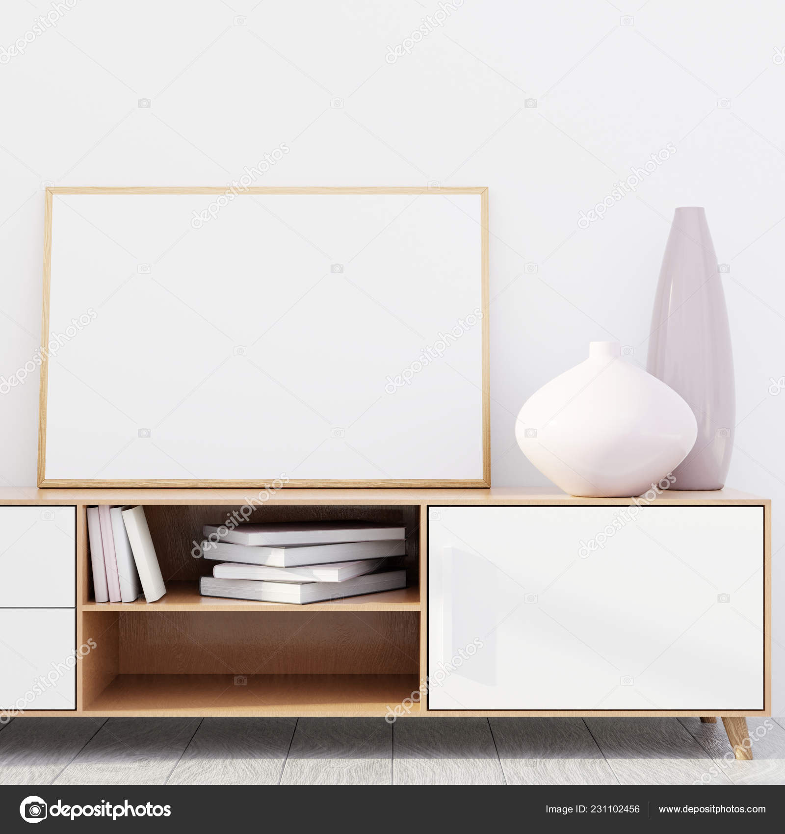 Modern Living Room Interior With A Wooden Dresser And A Horizontal