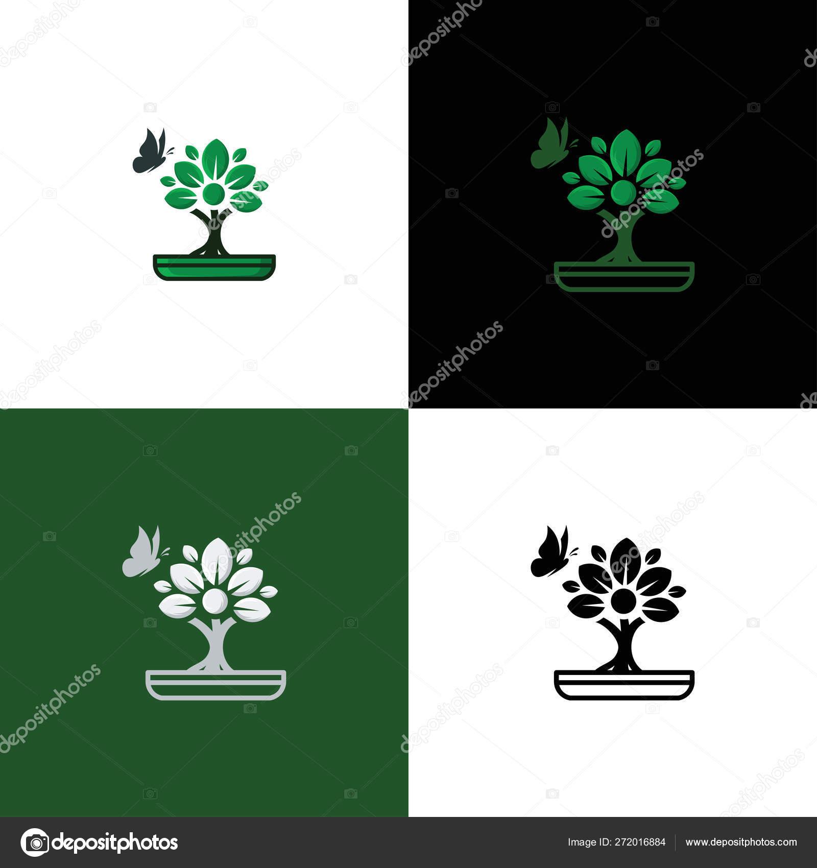 Bonsai Logo Template Tree Icon Design Vector Stock Vector C Mouze Art 272016884