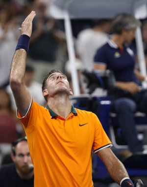NEW YORK - AUGUST 27, 2018: Grand Slam champion Juan Martin Del Potro of Argentina celebrates victory after his 2018 US Open first round match at Billie Jean King National Tennis Center
