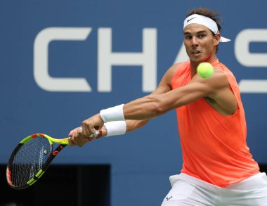NEW YORK - SEPTEMBER 2, 2018: 17-time Grand Slam champion Rafael Nadal of Spain in action during his 2018 US Open round of 16 match at Billie Jean King National Tennis Center
