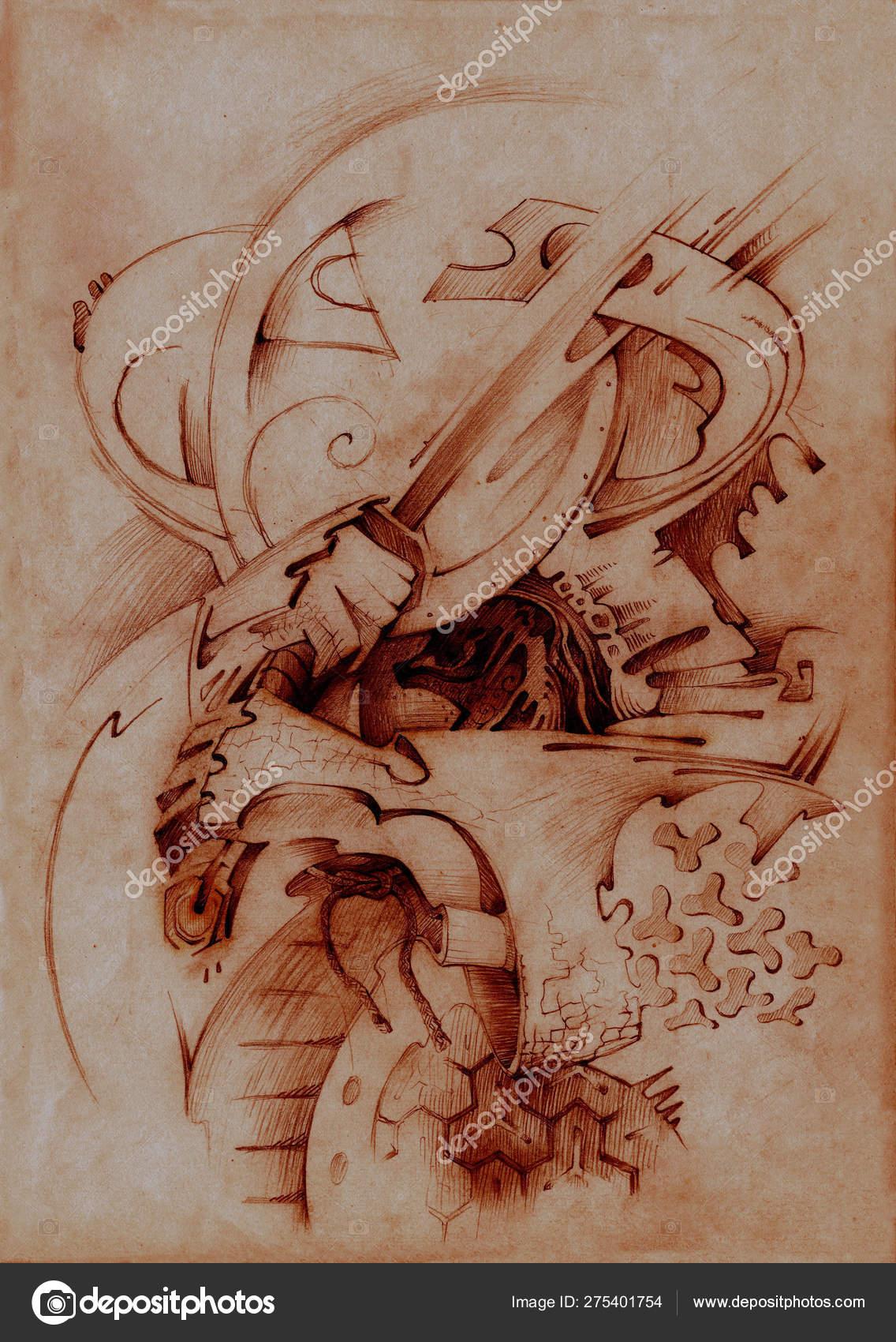 Illustration Samurai Graphics Made Paper Red Chalk Abstract Symbolic Art Stock Photo C Piterkrig 275401754