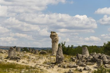 Planted stones, also known as The Stone Desert. Landforms of Varna Province. Rock formations of Bulgaria. Stone forest.