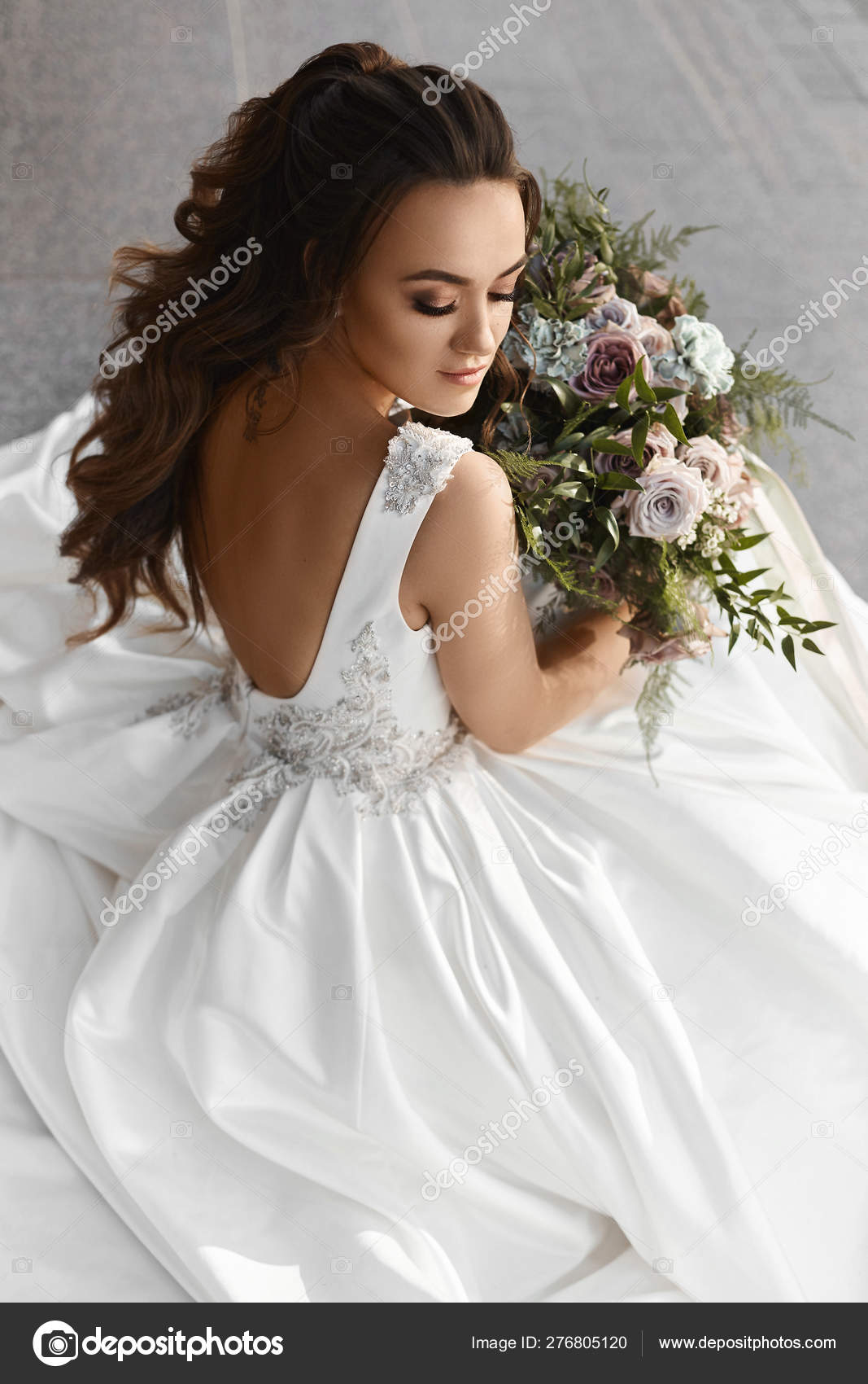 Beautiful And Sexy Brunette Model Girl In A Fashionable Wedding
