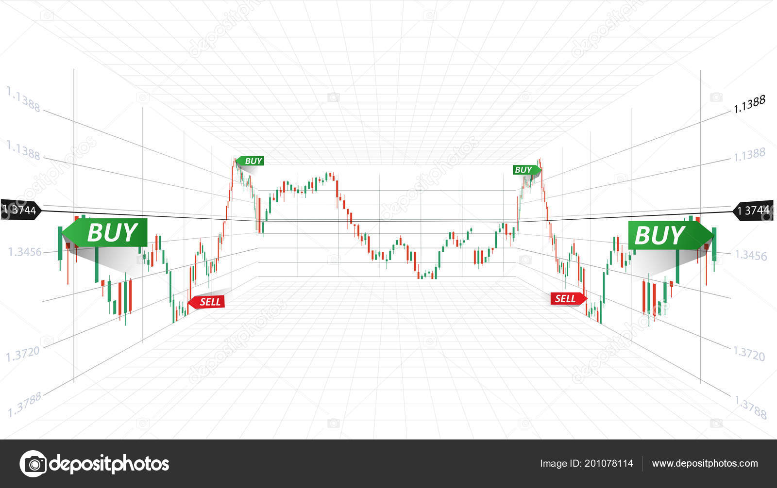Vector Abstract Illustration Financial Market Data Forex Trading